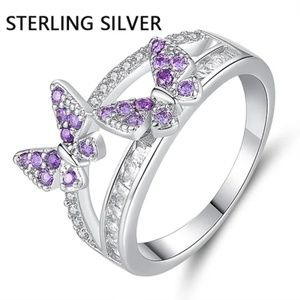 925 Sterling Silver Butterfly Amethyst Zircon Ring